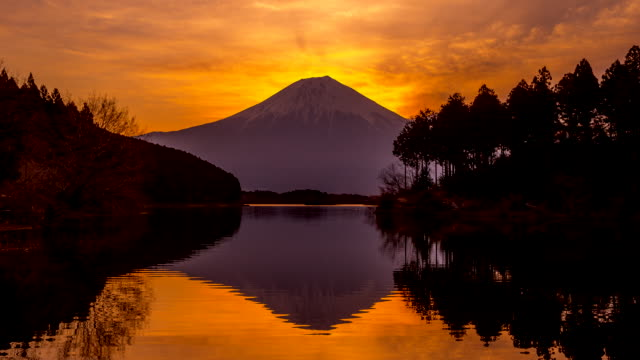 Beautiful Mt Fuji at sunset video