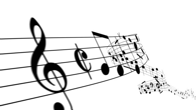 vídeos de stock e filmes b-roll de beautiful music notes flowing on white background like a melody seamless. looped 3d animation with alpha mask. - nota