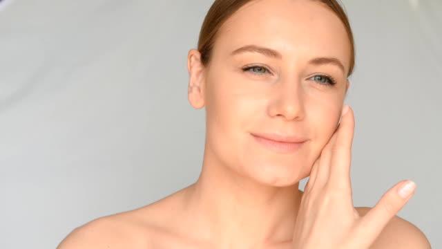 Beautiful natural woman portrait. Full HD Video video
