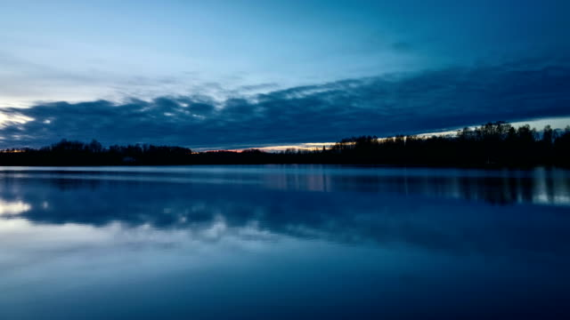 Beautiful nature and landscape on blue dusk evening in Sweden