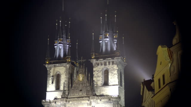 Beautiful Night View Of Gothic Church At The Old Town Video