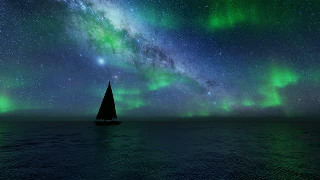 Beautiful northern lights sailboat Sea landscape. 4k