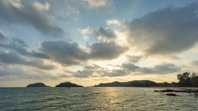 Beautiful Ocean at Sunset with Cloudy Sky, Time Lapse Video