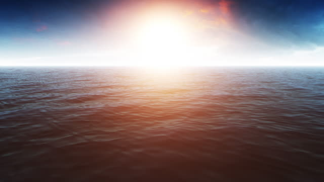 Beautiful Ocean Scene With Shiny Warm Sun video
