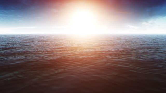 Güzel okyanus sahne parlak sıcak güneş video