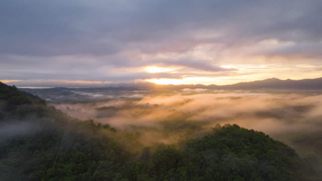 beautiful of morning scenery with mist over mountains. - hyperlapse video stock e b–roll