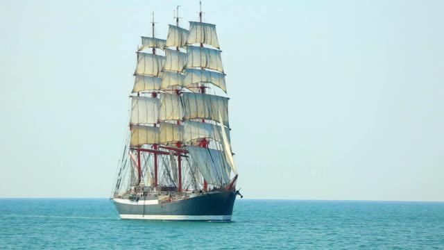 beautiful old sailing ship under full sail beautiful old sailing ship under full sail mast sailing stock videos & royalty-free footage