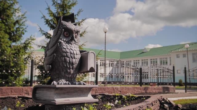 beautiful owl statue with a book in his hands. funny monument. - rappresentazione umana video stock e b–roll