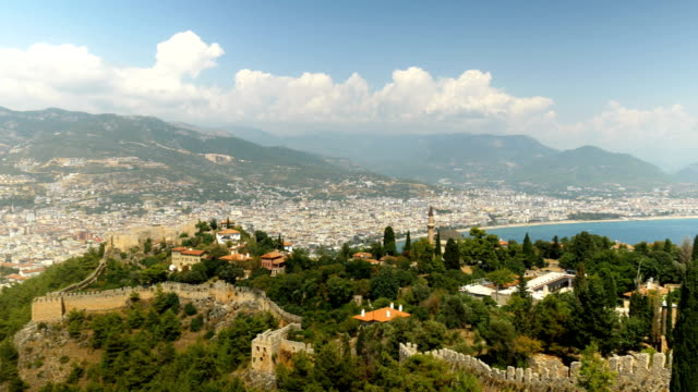 Beautiful panaromic view from Alanya Castle with background of Alanya City video