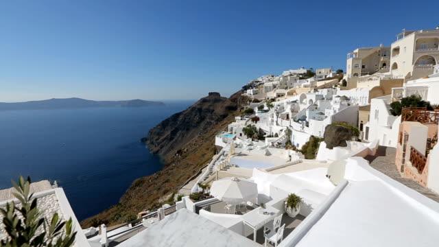 Beautiful panorama of Thira island in Aegean Sea, fantastic tourist attraction