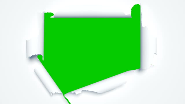 vídeos de stock e filmes b-roll de beautiful paper sheets tearing from the center opening the screen transition. two versions. 3d animation of abstract paper breaking through on green screen alpha mask. - produto artístico