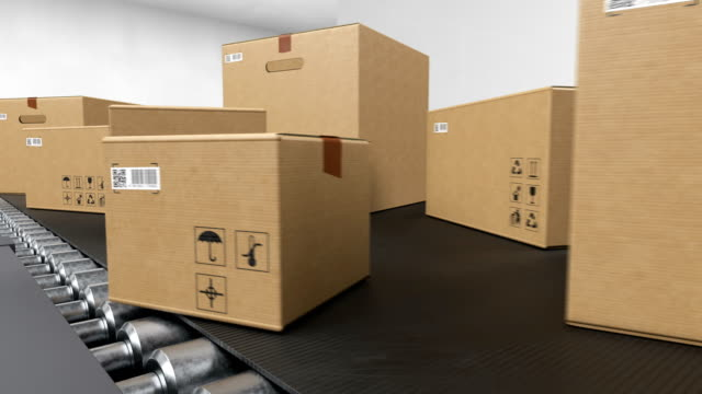 Beautiful Parcels Moving on Conveyor Belt System Seamless. Cardboard Boxes with QR Code Transportation in Delivery Service Looped 3d Animation. Logistics Concept.