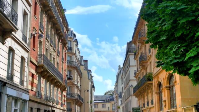 Beautiful Paris Street, European Parisian French Buildings, Urban Life Beautiful Paris Street, European Parisian French Buildings, Urban Life french architecture stock videos & royalty-free footage