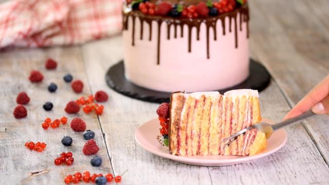 beautiful piece of berries cake on a white plate. yakından kapatın. - kek dilimi stok videoları ve detay görüntü çekimi