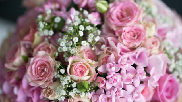 beautiful pink wedding bouquet closeup. video