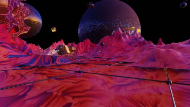vídeos y material grabado en eventos de stock de hermoso planeta. fondo visual fluorescente de los años 80 - frambuesa
