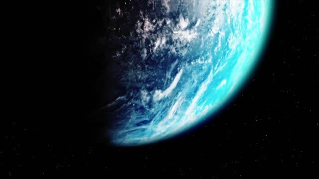 beautiful planet rotating earth from space star sunrise loop animation. - badawczy statek kosmiczny filmów i materiałów b-roll