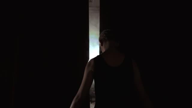 Beautiful Prima Ballerina Entering Dark Stage Determination Innocence Smoke Silhouette Slow Motion.