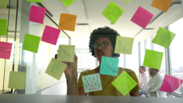 Beautiful professional black woman planning a business strategy with adhesive notes on window looking very happy