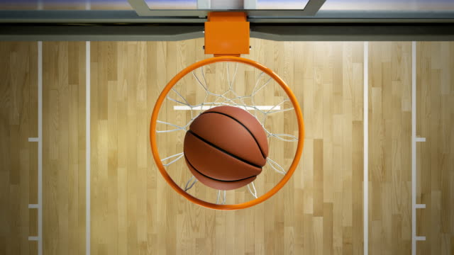 Beautiful Professional Throw in a Basketball Hoop Slow Motion Top View. Ball Flying Spinning into Basket Net. Sport Concept. 3d Animation 4k Ultra HD 3840x2160. video