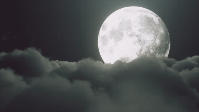 Beautiful realistic flight over cumulus lush clouds in the night moonlight. A large full moon shines brightly on a deep starry night. Cinematic scene. Seamless loop 3d render video
