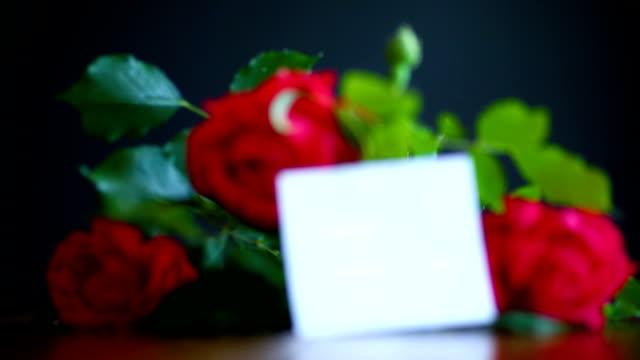 아름 다운 빨간 꽃 장미 - thank you background 스톡 비디오 및 b-롤 화면
