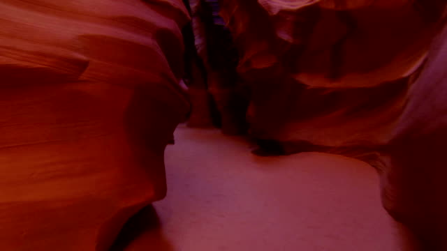 CLOSE UP: Beautiful red walls of Antelope canyon video