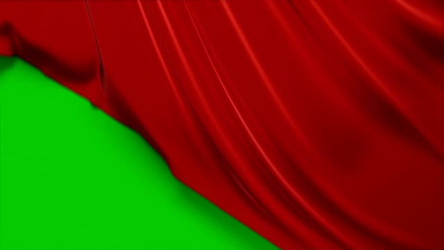 beautiful red waving cloth flying away opening the background. looped 3d animation with alpha matte. abstract wavy silk fabric surface motion revealing the screen. - seta video stock e b–roll