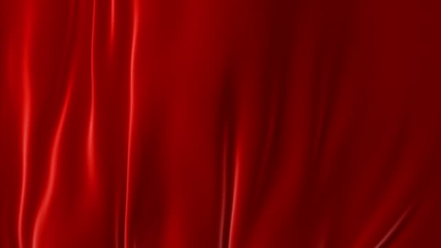 Beautiful Red Waving Curtain Blown Away by Wind, Opening Background. Looped 3d Animation with Alpha Matte. Abstract Wavy Silk Cloth Surface Motion Revealing Screen.