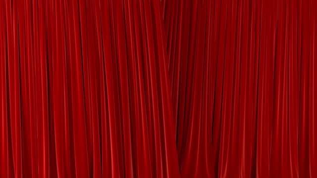 beautiful red waving curtains opening and closing on green screen. abstract 3d animation of silk cloth revealing background with alpha matte. - otwierać filmów i materiałów b-roll