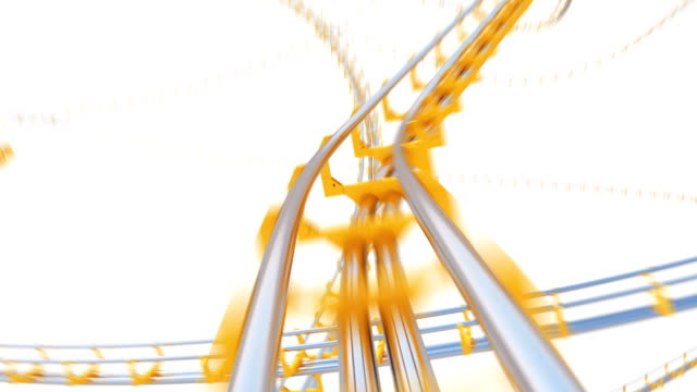 Beautiful Ride on Roller-Coaster Extremely Fast on White Background Seamless. Looped 3d Animation of Abstract Roller Coaster Attraction Curvy Railway. Entertainment Concept.