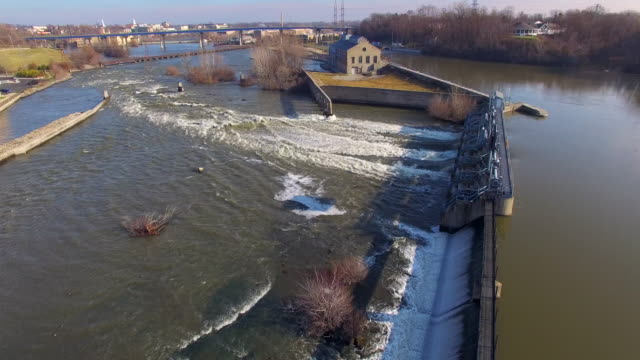 Beautiful River Dam With Raging Waters, Aerial View video