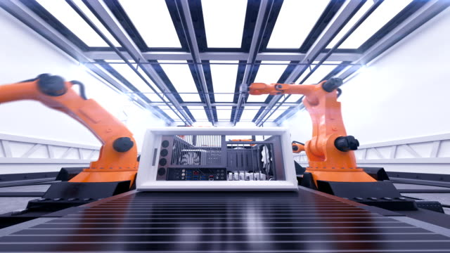 Beautiful Robotic Arms Assembling Computer Cases On Conveyor Belt. Futuristic Advanced Automated Process. 3d Animation. Business, Industrial and Technology Concept. video