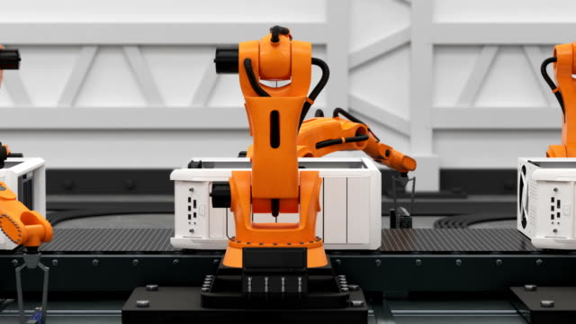 Beautiful Robotic Arms Assembling Computers On Conveyor Belt. Advanced Automated Process. 3d Animation. Business and Technology Concept. Beautiful Robotic Arms Assembling Computers On Conveyor Belt. Advanced Automated Process. 3d Animation. Business and Technology Concept. 4k Ultra HD 3840x2160. conveyor belt stock videos & royalty-free footage