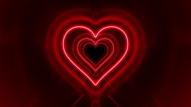 stockvideo's en b-roll-footage met mooie romantische abstracte tunnel hart vorm met neon lichtlijnen bewegen snel. felle kleuren van de regenboog. achtergrond futuristische gloeiende tunnel. looped 3d-animatie. - naadloos patroon