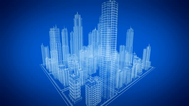 Beautiful Rotating Blueprint of Contemporary Buildings. Blue color. Construction and Technology Concept. Looped 3d animation. Beautiful Rotating Blueprint of Contemporary Buildings. Blue color. Construction and Technology Concept. Looped 3d animation. 4k UHD 3840x2160. office illustrations videos stock videos & royalty-free footage
