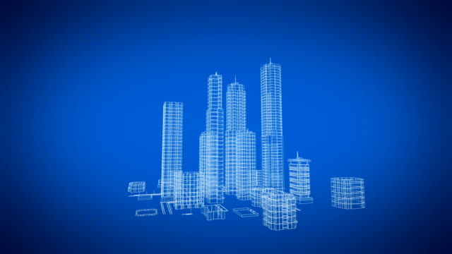 Beautiful Rotating Blueprint of Contemporary Growing Buildings. Construction and Technology Concept. Blue color 3d animation. Beautiful Rotating Blueprint of Contemporary Growing Buildings. Construction and Technology Concept. Blue color 3d animation. 4k UHD 3840x2160. blueprint stock videos & royalty-free footage