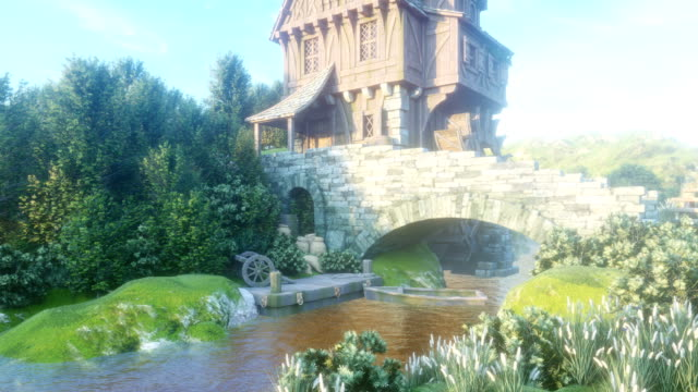 Beautiful rural summer morning nature with a pond and a water mill. The mill wheel rotates under the pressure of the water flow. Looping 3D animation.