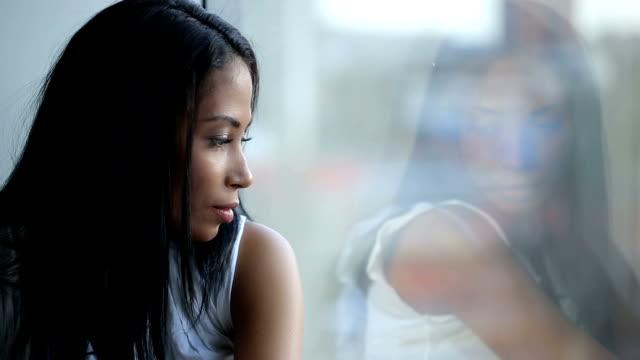 Beautiful Sad Woman Look at Window video