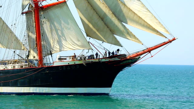 beautiful sailing ship in full sail video
