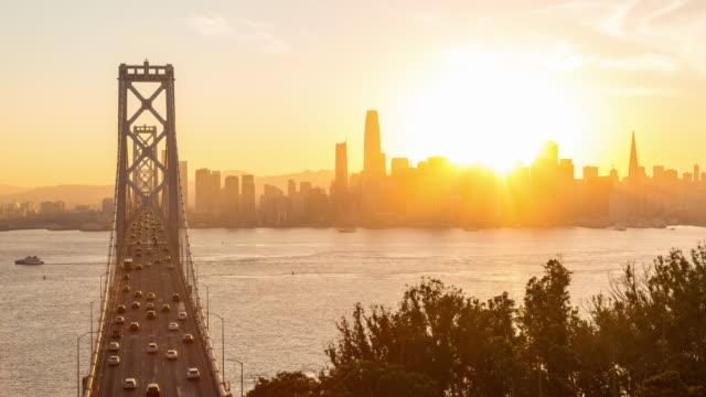 Beautiful San Francisco and Bay Bridge Day to Night Sunset Timelapse