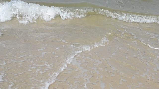 Beautiful sandy beach and soft blue ocean wave