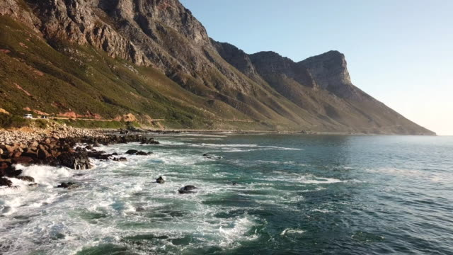 Beautiful scenary of False Bay, Cape Town Aerial view over the coast of False Bay in Cape Town, South Africa cape peninsula stock videos & royalty-free footage