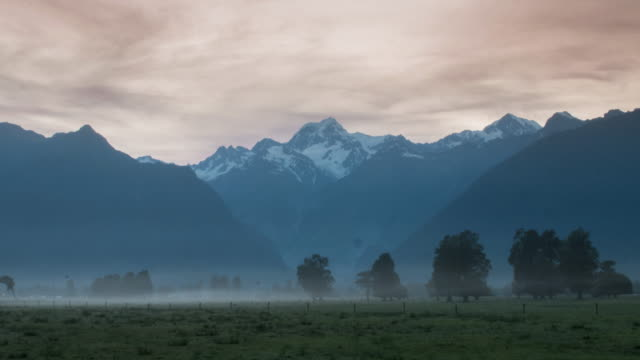 Beautiful scenery landscape Time Lapse of Mt.Cook at Fox glacier , west coast , new zealand video