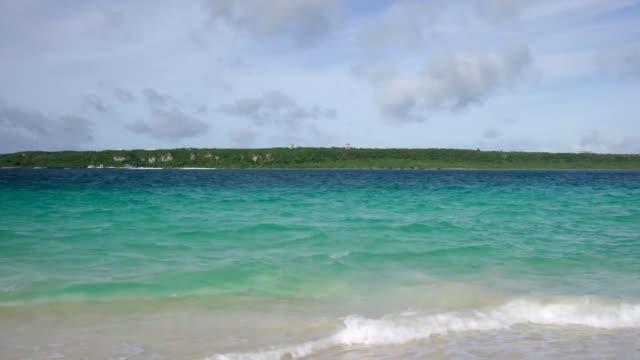 Beautiful sea and shore viewed from Yonahamaehama beach in Miyakojima island, Japan video