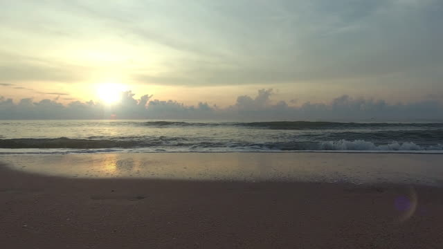 Beautiful Sea, Flying over clean sea and wave surface at sunset or sunrise video