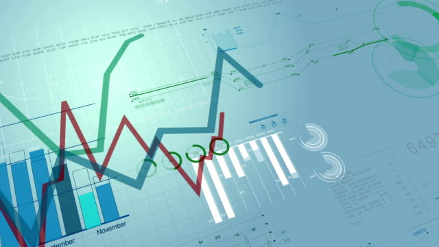 beautiful seamless 3d animation of stock market charts growing. financial figures and diagrams growing on digital background. looped. hd - rapporto video stock e b–roll