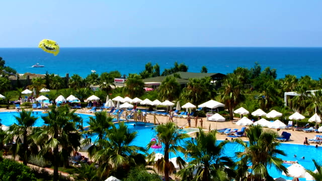 beautiful seascape from hotel window, spending vacation at exotic summer resort - località turistica video stock e b–roll