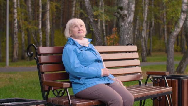 秋の公園でベンチで美しいシニア休んでと横道で見て - ベンチ点の映像素材/bロール
