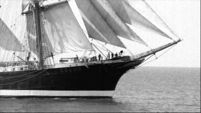 beautiful ship under sail beautiful ship under sail - stylized old movie industrial ship stock videos & royalty-free footage